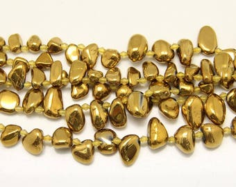 Top Drilled,Titanium Golden Smooth Crystals Jewelry,Freeform Nugget Chips Beads,10-20x8-12mm