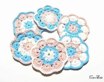 Set 6 Pink and Turquoise crochet Afghan flower appliques,  set 6 fiori rosa e turchese all'uncinetto da applicare