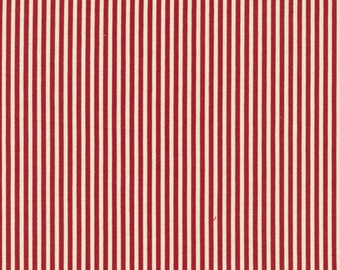 Classique Stripe Red/Ecru by Paintbrush Studio; Cotton fabric by the yard