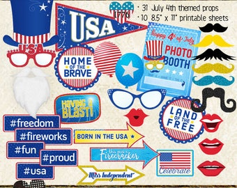 Photo Booth Props, 4TH OF JULY, Independence Day, party, celebration, printable sheets, instant download, patriotic, USA