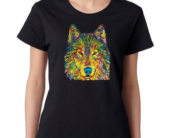LADIES Neon Wolf Dream Ladies T-Shirt Skull DreamCatcher Shirts