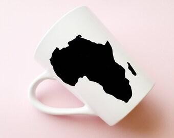 Africa Mug, Africa, Coffee Mugs, Tea Mugs, White and Black Mug, Vinyl Mug, Mug, Stay Woke, Mugs, African Mug, Black Girl Magic