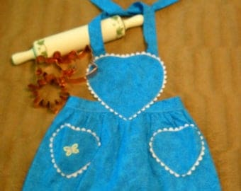 Turquoise Children's Apron with butterfly