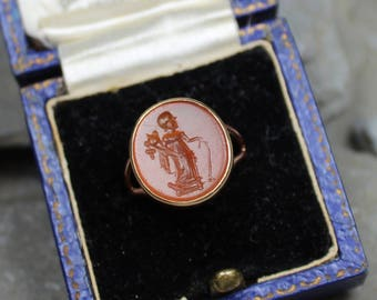 Antique Victorian 9CT Gold Carnelian Goddess Fortune Seal Signet Intaglio Pinky Ring