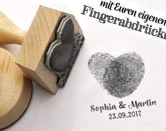 Fingerprint stamp heart / / personalized stamps with your own fingerprints / / wedding stamp / / compose / / name + date