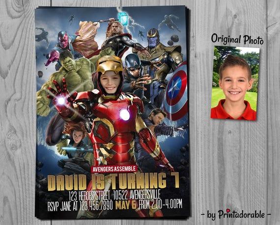 Avengers Invitation - Marvel Super Heroes Birthday Invite - Iron Man, Thor, Captain America, The Hulk, Black Widow, Hawkeye and Thanos