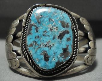 Idea Specimen Of Morecni Turquoise Vintage Navajo Silver Bracelet