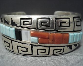 Rare Vintage Navajo Alvin Begay Turquoise Sterling Silver Bracelet Old Pawn