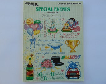 Special Events Mini Series #14 Cross Stitch Needlepoint Leisure Arts Leaflet 543