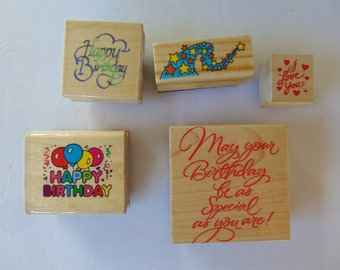 Lot of 5 Wood Mounted Birthday Rubber Stamps # 2