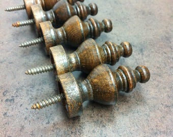 Vintage Wood Finials -Dark Brown Furniture Accents - 5 Spindles - Reno Project - Victorian Era Style