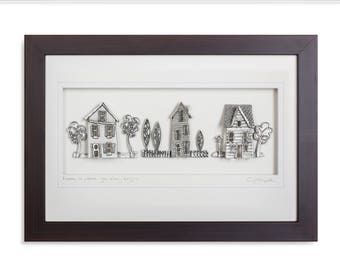 Home is where your story begins, Cottage, Pewter, Framed