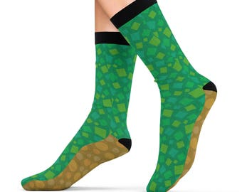 Animal Crossing Cushion Socks Ground Pattern