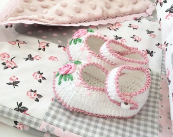 Baby blanket - Baby Rag Quilt- Baby Patchwork Blanket - Pink rag quilt - Baby Girl rag quilt - Nursery Decor