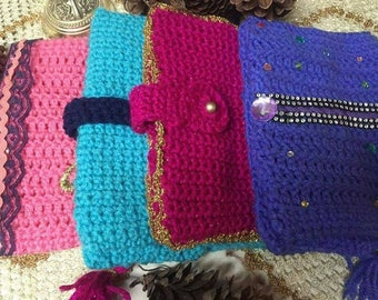 Unique handmade crochet book cover Quran/ bible cover  with or without names with pretty accessories