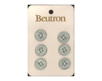 "Vintage Beutron approx. 0.6"" (14 mm) Carded Green Grey Raised Edge 4-Hole Buttons Six Pieces (B54)"