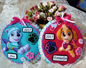 Personalized Paw Patrol Girl Christmas or birthday decorations-Puffy 3D Skye or Everest felt and fabric pup-ONE ORNAMENT-Pup door knob decor