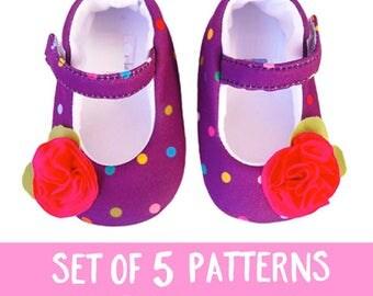 SALE PDF MARYJANE shoes pattern,baby shoe pattern,baby sewing pattern,sewing pattern baby pattern baby flats pattern,size 0-12m pdf pattern