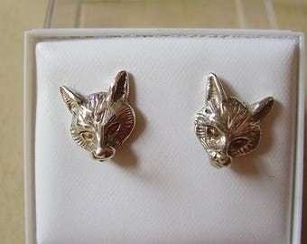 Sterling Silver. or 9ct gold  Fox Head Stud Earrings