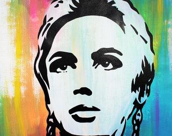 """MR.BABES - """"Edie Sedgwick"""" - Original Pop Art Painting - Celebrity Portrait"""