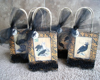 Raven Halloween Gift Bags - Set of Five - Vintage