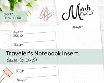 Day on 1 Page - TN Inserts - March 2018 - A6 / Size No. 3 | TN-DO1P-MAR-3-D Digital Download Printable