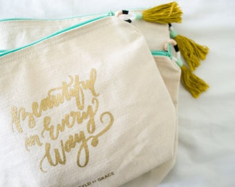 Beautiful In Every Way Canvas Pouch (tassel not included), Gold Lettering, Mint Zipper