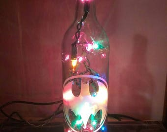 Batman - Hand Etched Wine Bottle Lamp - Bat Signal - Batman Lamp - Nightlight - Top Selling Batman