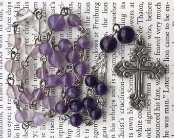 Anglican / Episcopal prayer beads, in ombre amethyst, with pewter cross