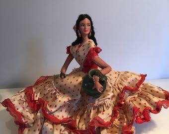 Spanish doll. Flamenco doll. Holiday Souvenir doll.  Spanish holiday doll,  carrying green pot