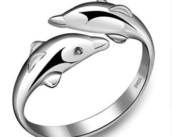Double Dolphin Silver Plated Ring