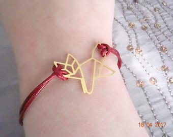 Fox origami Burgundy gold charm bracelet