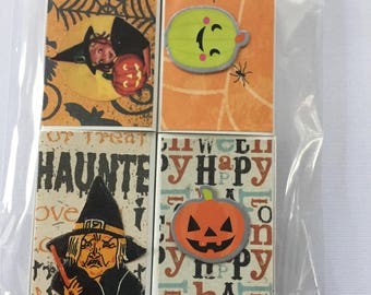 Halloween treat box. Package of 4 tiny treat boxes, trick or treat container.  Halloween theme.  No 2 alike.  Match box art.