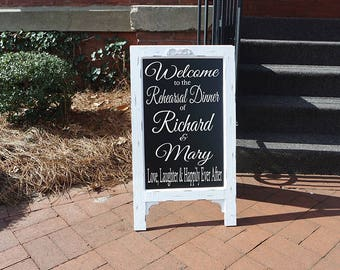 Rehearsal Decoration, Wedding Chalkboard, Wedding Easel, Chalk board, Wedding Sign, Welcome Sign, Rehearsal Dinner Sign, Wedding Rehearsal