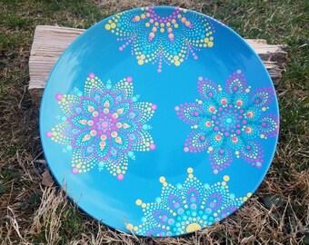 Blue teal yellow pink mandala decorative ceramic plate, mandala wall art, mandala decor, mandala dot art, mandala home decor, mandala plate