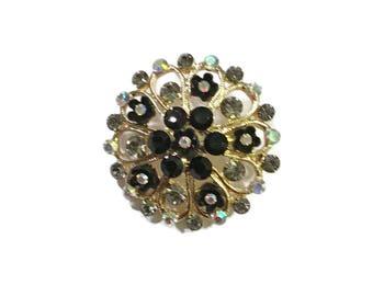 Rhinestone Brooch, Black & Clear Flower Pin,  AB, Gold Tone, Floral