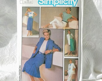 Vintage Simplicity Sewing Pattern 6785 1980s Jacket Top skirt Pants Pattern Size 10 12 14 Uncut Jacket with Shoulder Pads Career 80s Fashion