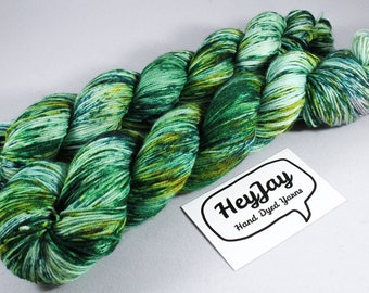 Hand Dyed Sock Yarn Superwash Merino - Jungle Jim