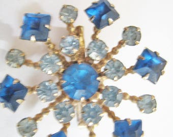 Two Tone Blue Rhinestone Pin