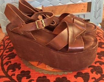 Brown Super Platform Kork Ease 7 7.5 38 Sandals