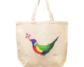 Bird Bag, Bird Large Tote Bag, Rainbow Birds, Colorful Bird, Lorikeet, Large Canvas Tote Bag, Tote Bag, Love Birds Tote Bag