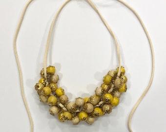 Yellow Bohemian Necklace-Bohemian Necklace-Boho Necklace-Yellow Necklace-Party Necklace-Beaded Necklace-Handmade Necklace-Leather Necklace