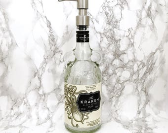Kraken Rum Bottle Soap Pump Dispenser (Water Repellent Label) Upcycled Bottle