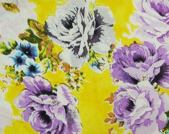 "Designer Yellow Fabric, Floral Print, Quilting Fabric, Sewing Decor, Craft Fabric, 41"" Inch Cotton Fabric By The Yard ZBC3744"