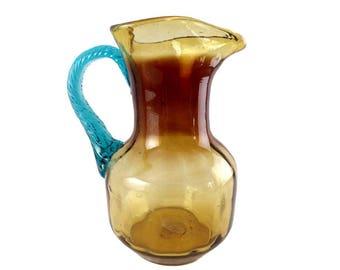Vintage glass pitcher blown Portieux Georges Sand amber and blue vintage France vintagefr Christmas gift idea
