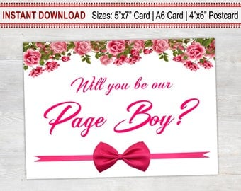 Will You Be Our Page Boy, Printable Card, Wedding Proposal Card, Floral Card, Page Boy Proposal Card, Page Boy Invitation, Page Boy Card
