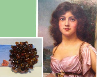 Natural Baltic amber brooch Vintage HUGE 15.5 gr, flower leaves brown transparent BEADS  brass clasp pin for adult
