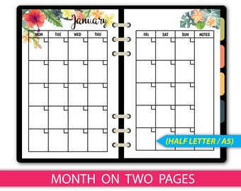 12 months Half Letter Planner Inserts,Month On 2 Pages,A5 Filofax,Monthly Planner,Printable PDF,Monthly Organizer,Monday Start #halfA001