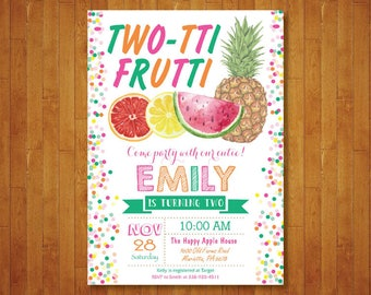 Tutti Frutti Invitation. Tutti Frutti Birthday Invitation. Two-tti Invitation. 2nd Birthday Invite. Tropical Party. Printable Digital.