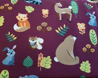 Woodland Animals - Bordeaux, Cotton Lycra Jersey Knit Fabric